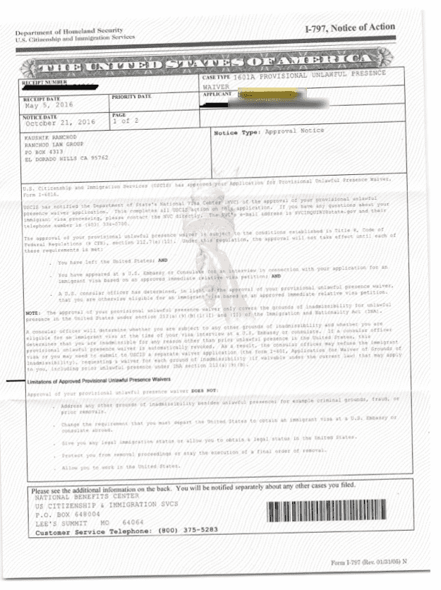 I-601A Hardship Waiver Approval - Client from Mexico
