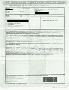 J1-Visa Waiver Approval Notice , form I-797, Notice of Action