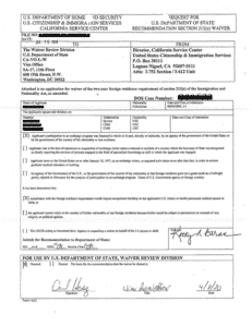 J-1 Waiver, Section 212(e) approval notice (letter of approval)