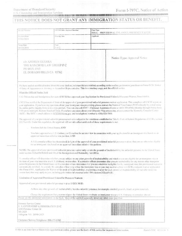 documento de aprobación de perdón I-601A